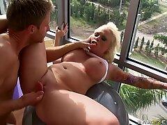 BBW blonde bombshell Angel Vain fucks at the GYM