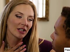 Horny step mother seduced her daughter's new black boyfriend