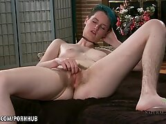 Scary Hairy Emo girl plays with her clit.