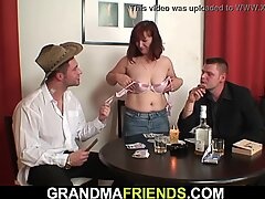 Redhead old mature double-fucked after card game