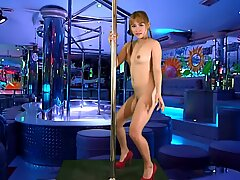 Young blond Thai chick creampied on audition sofa