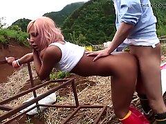 Uncensored JAV raw outdoor sex with tan gyaru Subtitles