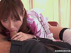 Japanese fetish lady Mana Aoki satisfying a horny