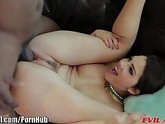 EvilAngel enormous Black Cock Fucks Brunette in backside