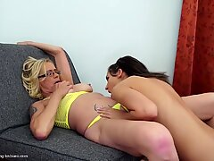 Dirty mom fucks young daughter