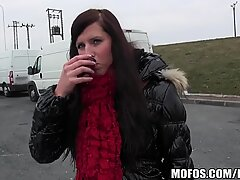 One lucky delivery driver picks up a horny Czech hitchh