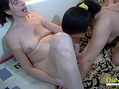 OldNannY Mature lady Threesome Hardcore and Toys