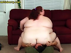 huge Girl Spread rump and latex Ass Smothering and Facesitting Skinny Guy