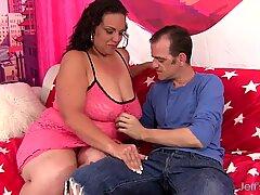Fat woman takes thin guys big cock