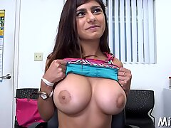Two dicks get stroked by Arab babe