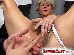 Old hairy vagina of grandma Hana fingered with 3 fingers