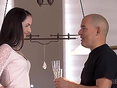 OLD4K. Sex of mature guy and his young wife starts with cunnilingus