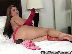 American milf Sheila feels naughty in red lingerie