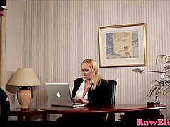 Busty glamcore babe in interracial office duo