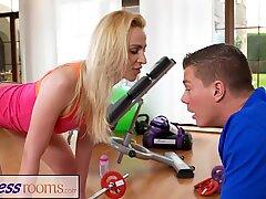 Fitness Rooms Cock hungry blonde Russian mummy deep throats gym teacher