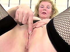 Kinky granny with old pierced thirsty vagina