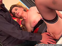 Busty grandma in stocking gets her furry beaver fucked