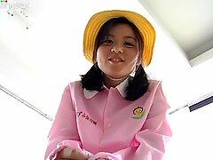 Stupid Asian teen Maki Chan puts on granny's clothes